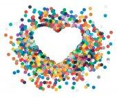 Heart shaped confetti falling down — Stock Vector