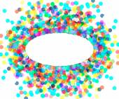 The oval frame of colored confetti — Stock Vector