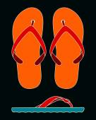 Womens flip-flop collage — Vettoriale Stock