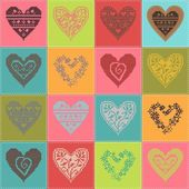 Pattern with collection hearts in vintage patchwork style. — Cтоковый вектор