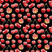 Beautiful seamless vector pattern with cherries — ストックベクタ