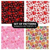 Set of 4 vector seamless patterns — Stock Vector