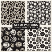 set of abstract graphic patterns circles and heart — Stock Vector
