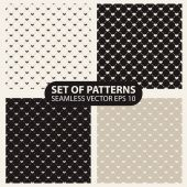 Set of seamless graphic patterns hearts — Stock Vector