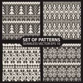 Set of seamless knitted patterns graphics — Stock Vector