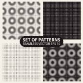 Set of seamless knitted patterns graphics. — Stock Vector