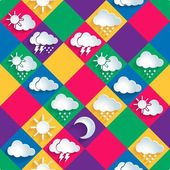 Seamless vector pattern of weather icons paper — Stock Vector