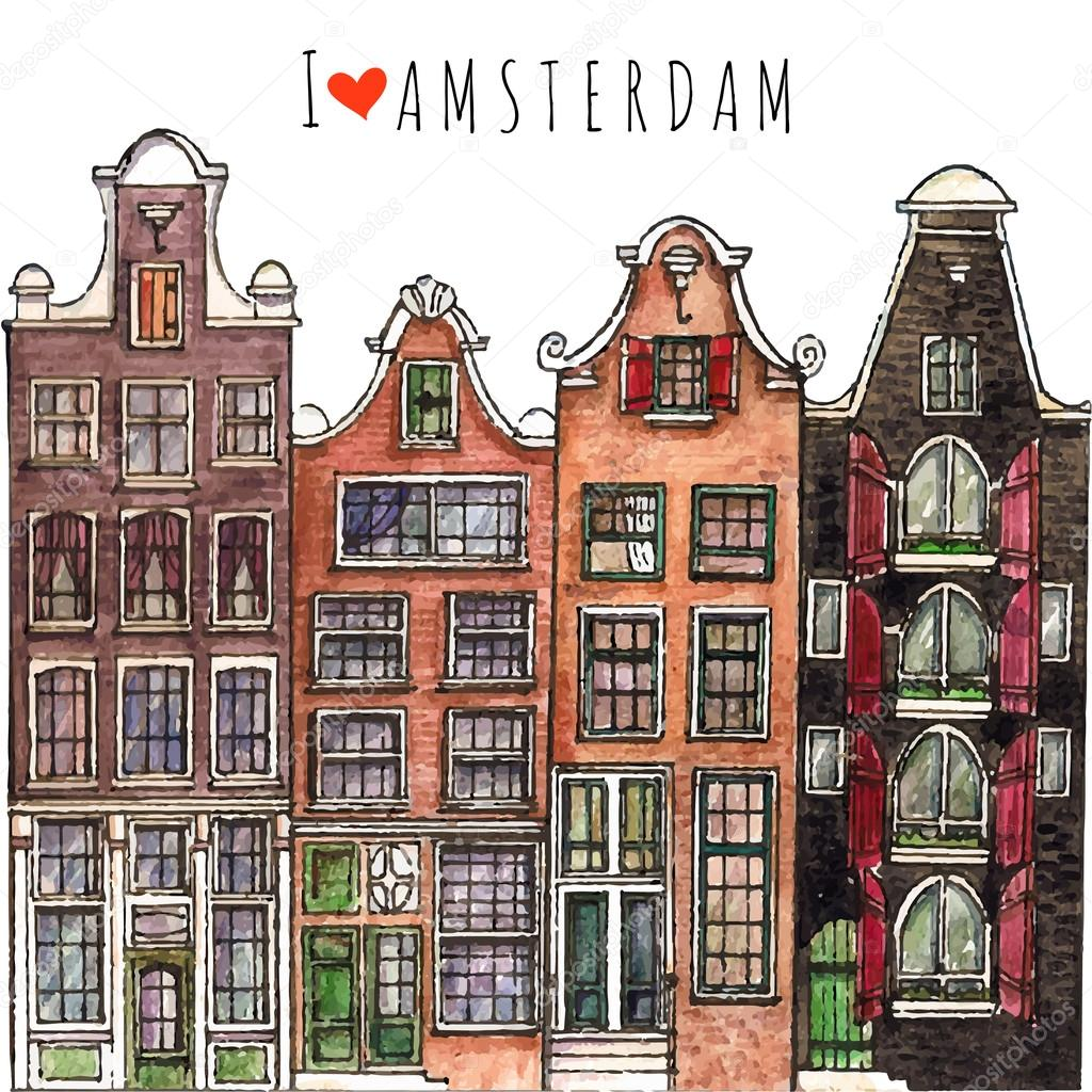 Traditional old buildings in Amsterdam. — Stock Vector ...