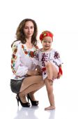 Woman with a little girl in the Ukrainian national clothes isola — Stock Photo