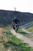 Rider on sport bike for enduro on motocross track — Stock Photo