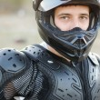 Rider on sport bike for enduro on motocross track — Stock Photo #54526773