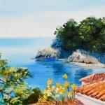 Oil painting - house near the sea — Stock Photo #56328681