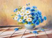 Oil painting still life, bouquet of flowers on a wooden table — Stock Photo
