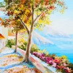 Painting - house near the sea, seascape — Stock Photo #56660631