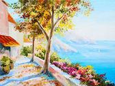 Painting - house near the sea, seascape — Stock Photo