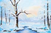 Oil painting winter landscape, frozen river in the forest, colorful watercolor — Stock Photo