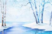Ölgemälde - Winterlandschaft, bunte Aquarell — Stockfoto