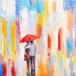 Couple is walking in the rain under an umbrella, abstract colorful oil painting — Stock Photo #67224567
