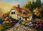 Oil painting of fairy house, art work — Stockfoto