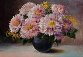 Oil painting on canvas - still life flowers on the table, art wo — Stock Photo