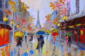 Oil painting of  eiffel tower, france, art work — Stock Photo