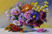 Oil painting on canvas - still life flowers on the table, art wo — Stok fotoğraf
