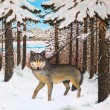 Oil painting - wolf in the pine forest, winter, colorful picture — Stock Photo #69323301