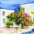 Watercolor  painting of a bouquet of flowers in pots on the wind — Stock Photo #69760133