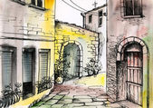 Watercolor painting of a narrow street, architecture — Stock Photo