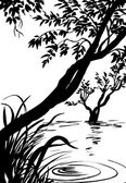 Illustration, sketch of nature, swamp, tree, river, lake — Stock Photo