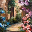 Oil painting - summer terrace, colorful flowers in a garden, house in Greece — Stock Photo #75470423