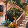 Oil painting - summer terrace, colorful flowers in a garden, house in Greece — Stock Photo #75470505