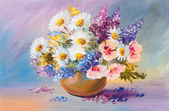 Bouquet of summer flowers, still life oil painting — Stock Photo
