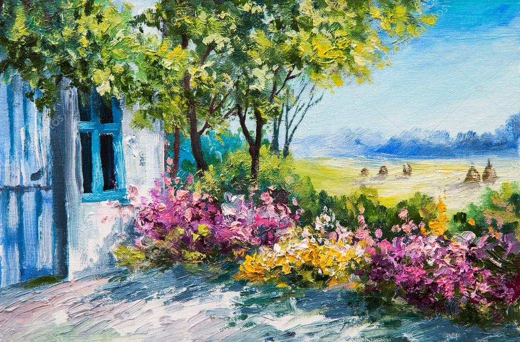 Paisaje pintura al óleo  jardín cerca de la casa, flores coloridas