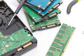 Laptop repair tools and technical support — Stock Photo