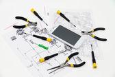 Technical operator and repair smartphone — Stock Photo