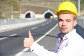 Young engineer near the tunnel — Stock Photo