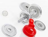 Black dumbbells and loose weights — Stock Photo