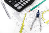 Architectural project, pair of compasses, rulers and calculator — Stock Photo