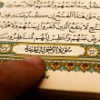 Sheets entire Qoran - Koran - Qur'an with the names of Allah — Stock Photo #76329633