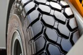 Tractor wheel and tire — Stock Photo