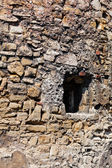 Old stone wall with window — Stock Photo