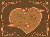 Portrait of a loving couple in the Art Nouveau style in the frame. — 图库矢量图片