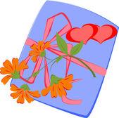 Kalpler ve çiçekler ile hediye. — Stok Vektör
