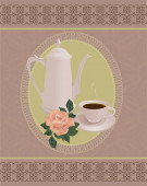 Coffee pot and Cup on a vintage vector background. — Stock Vector