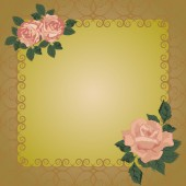 Vector frame with openwork background and roses. — Stock Vector