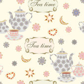Seamless pattern with teapots and cups. — Stock Vector