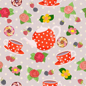 Repeating pattern with teapot, cups, flowers and berries. — Stock Vector