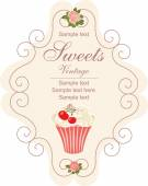 Vintage card with cupcake. — Stock Vector
