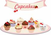 Vector set of cakes and cupcakes. — Stock Vector